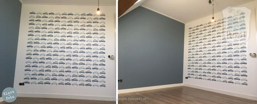 boys room with car wallpaper in blue
