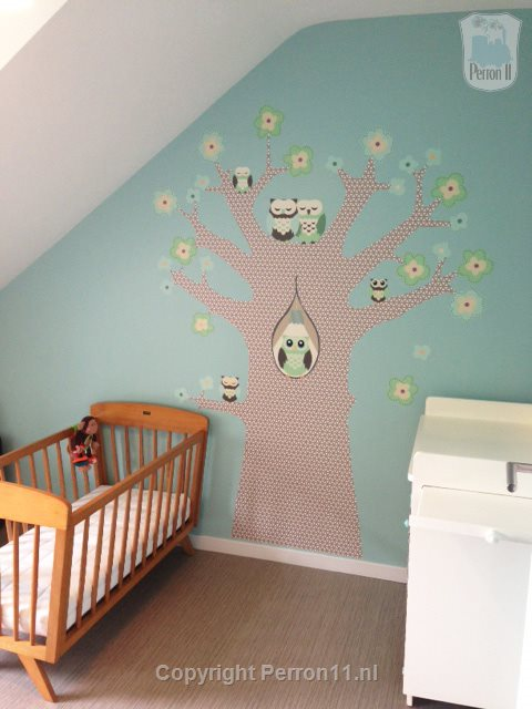 Kids nursery wallpaper sample tree owl