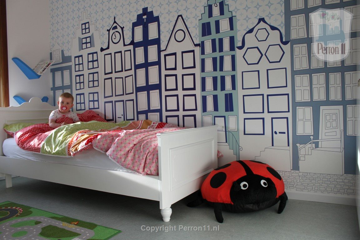 canal houses in children's room wallpaper mural