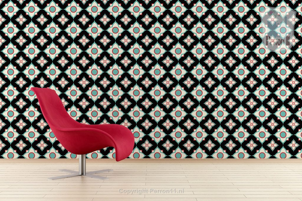 Interior with black wallpaper Flower Night Perron 11
