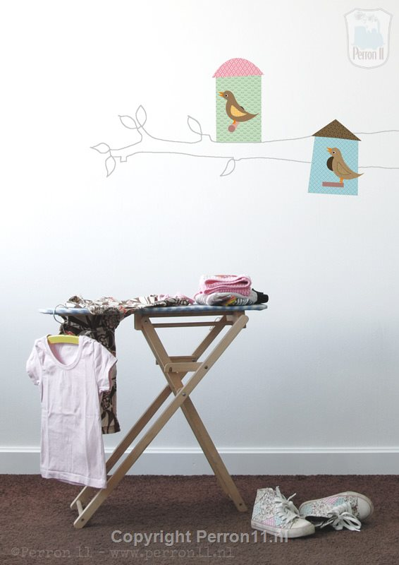 Example selfmake nursery decoration wallpaper birdhouses