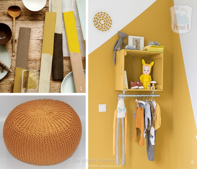 Collage of gold ocher color combinations and accessories