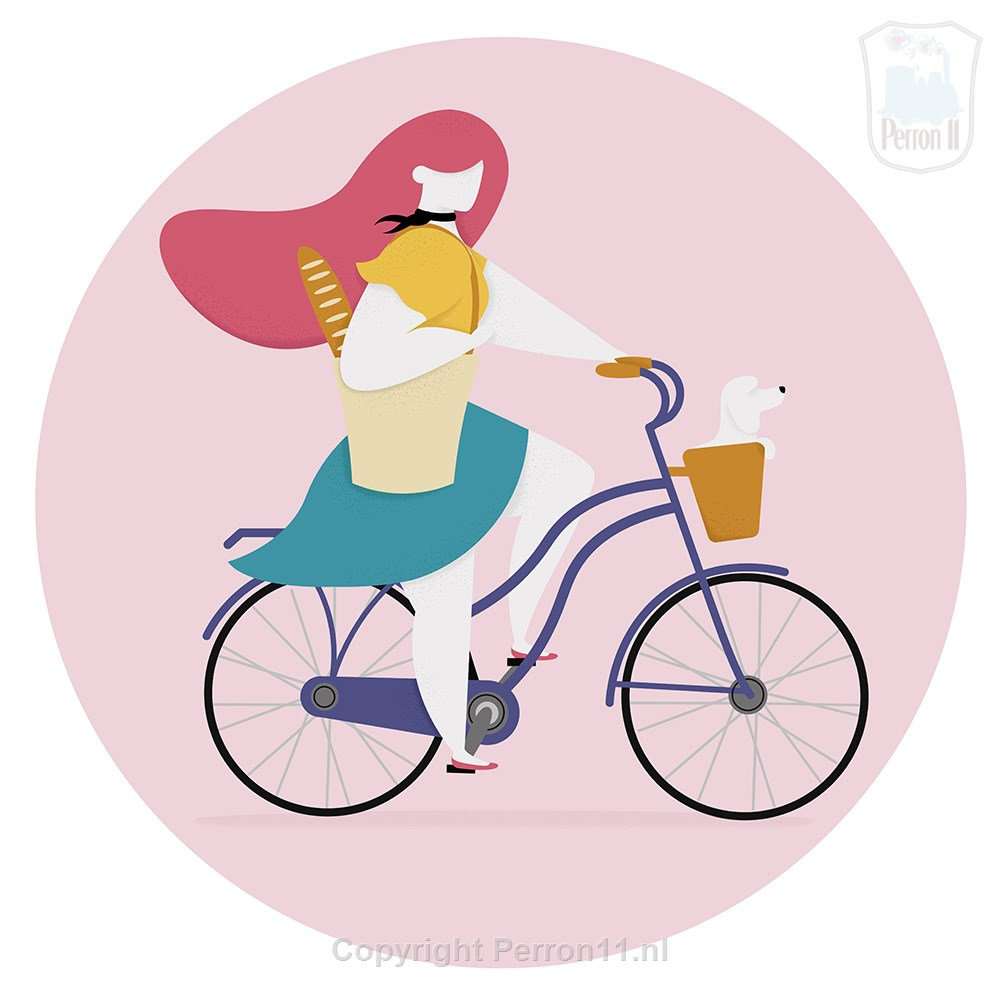 Illustration of Eileen Boeijkens a Parisienne by bike