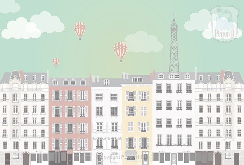 City Paris poster wallpaper girl nursery room nursery teen room