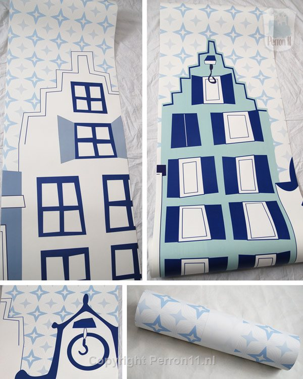 wallpaper delft blue city photo collage