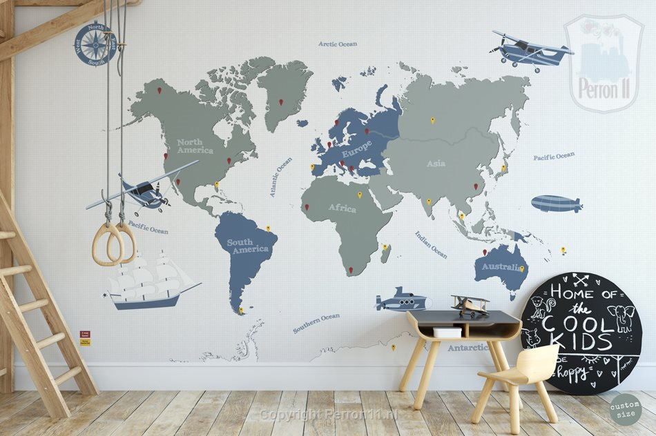 Wallpaper world map in green and blue from Perron 11