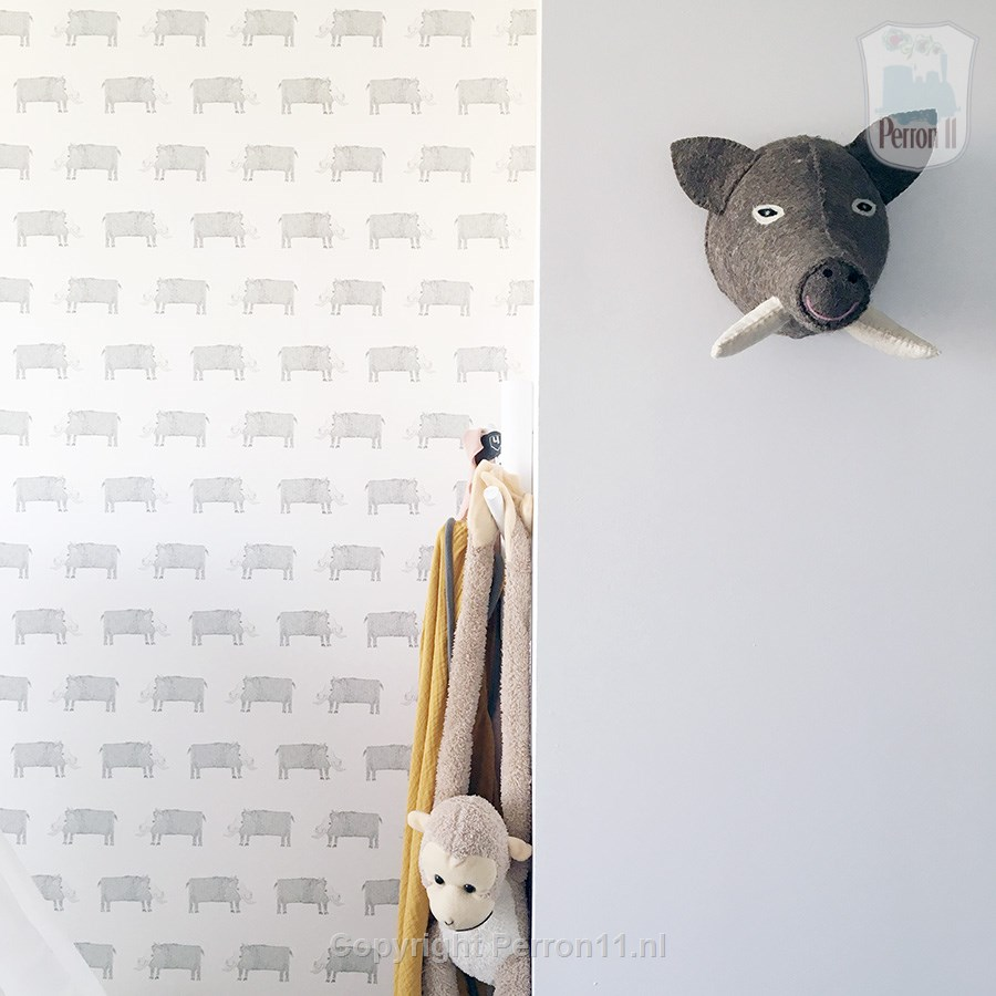 Baby Room Inspiration special nursery with pig wallpaper customer photo