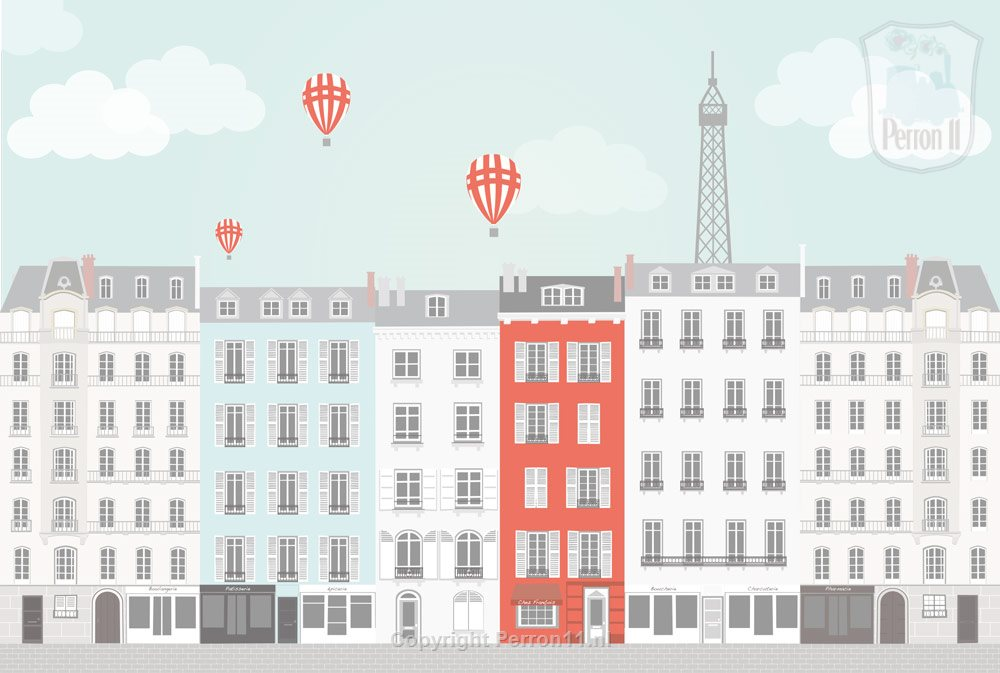 Paris city poster wallpaper boys maid room teen room with balloons and Eiffel Tower