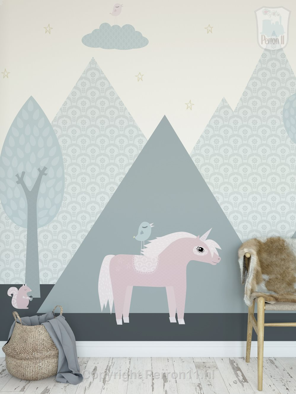 unicorn wallpaper mural in the children's room with rattan and wicker basket